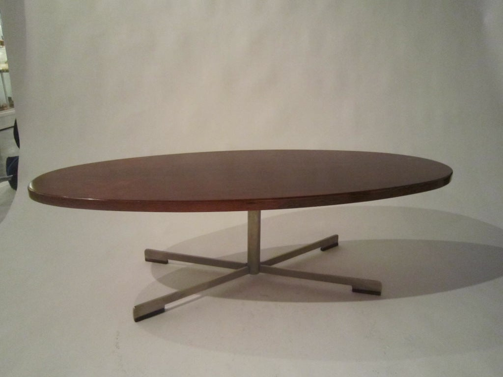 Large rosewood oval coffee table from the 1960s.
