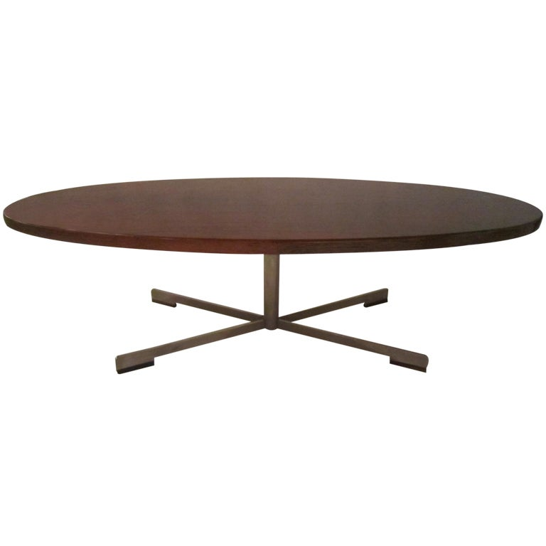Large Rosewood Oval Coffee Table For Sale