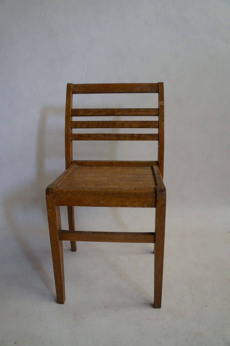 Mid-20th Century Set of Four Rene Gabriel Oak Chairs For Sale