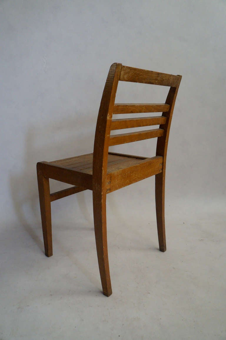 Set of Four Rene Gabriel Oak Chairs In Fair Condition For Sale In Brooklyn, NY