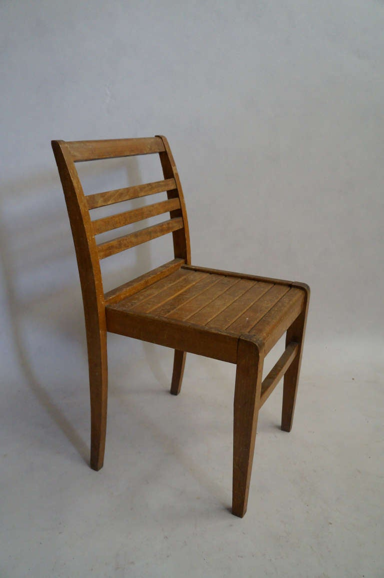 Set of Four Rene Gabriel Oak Chairs For Sale 2