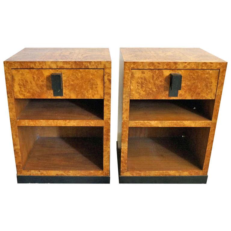 Pair of Side Tables in Burl Wood