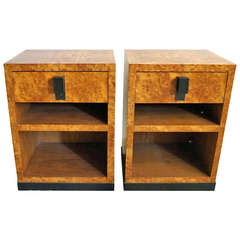 Pair of Side Tables in Burl Wood