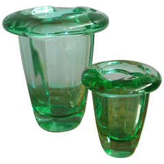 Two Green Vases by Daum