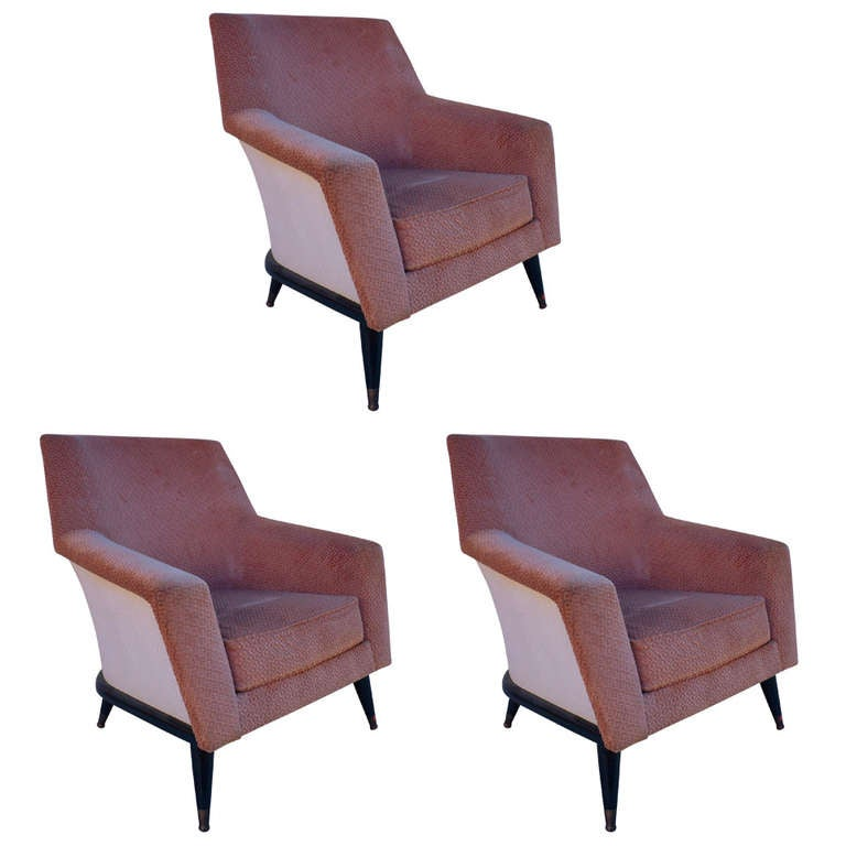 Set of Three Armchairs with One Ottoman