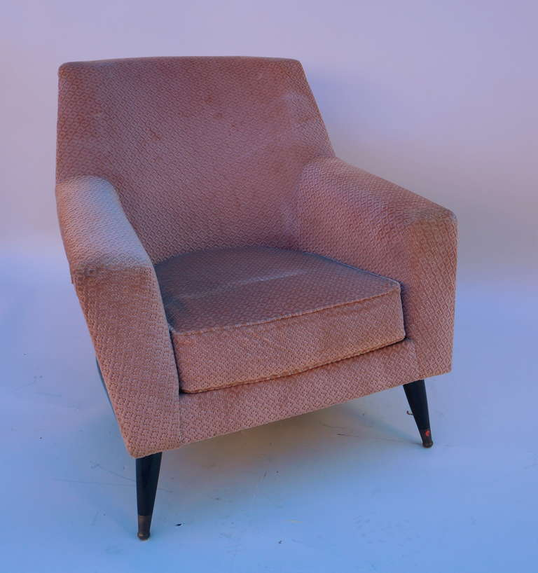 set of three armchairs with one ottoman for sale at 1stdibs