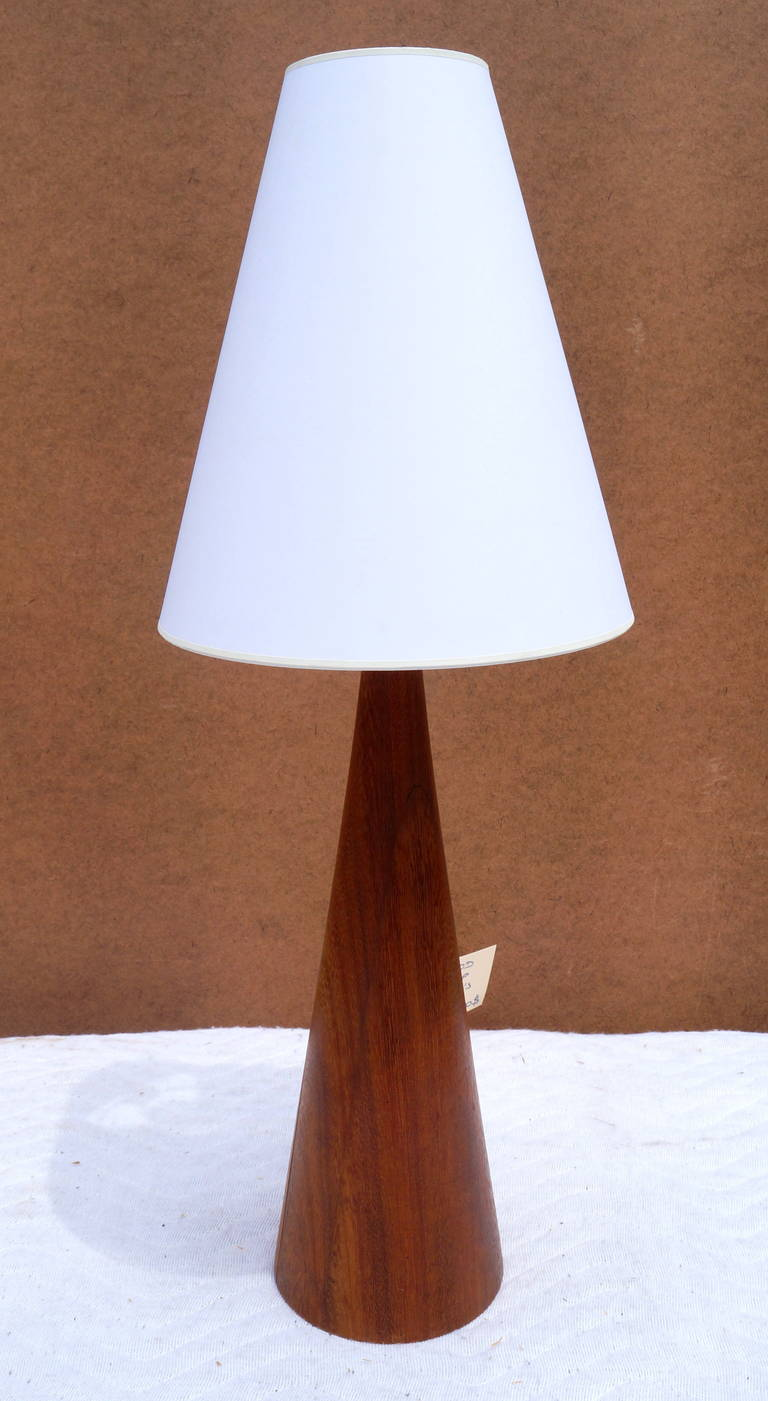 wood cone shaped table lamp for sale at 1stdibs. Black Bedroom Furniture Sets. Home Design Ideas