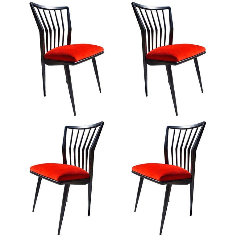 Set of Four Black Lacquered Chairs For Sale