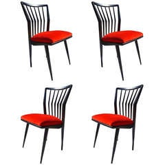 Set of Four Black Lacquered Chairs