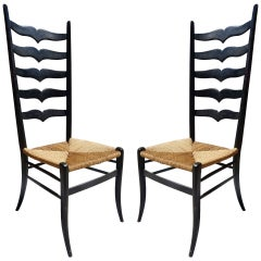 Pair of High Back Italian Chairs