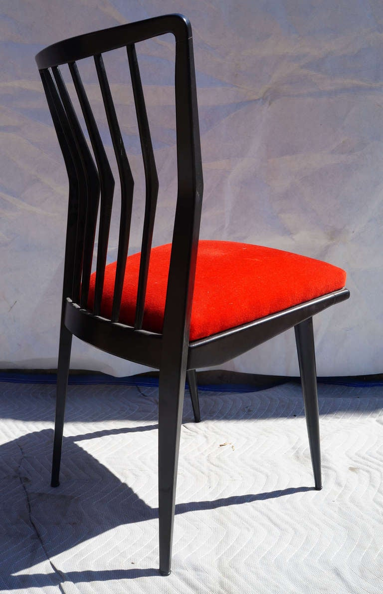Wood Set of Four Black Lacquered Chairs For Sale