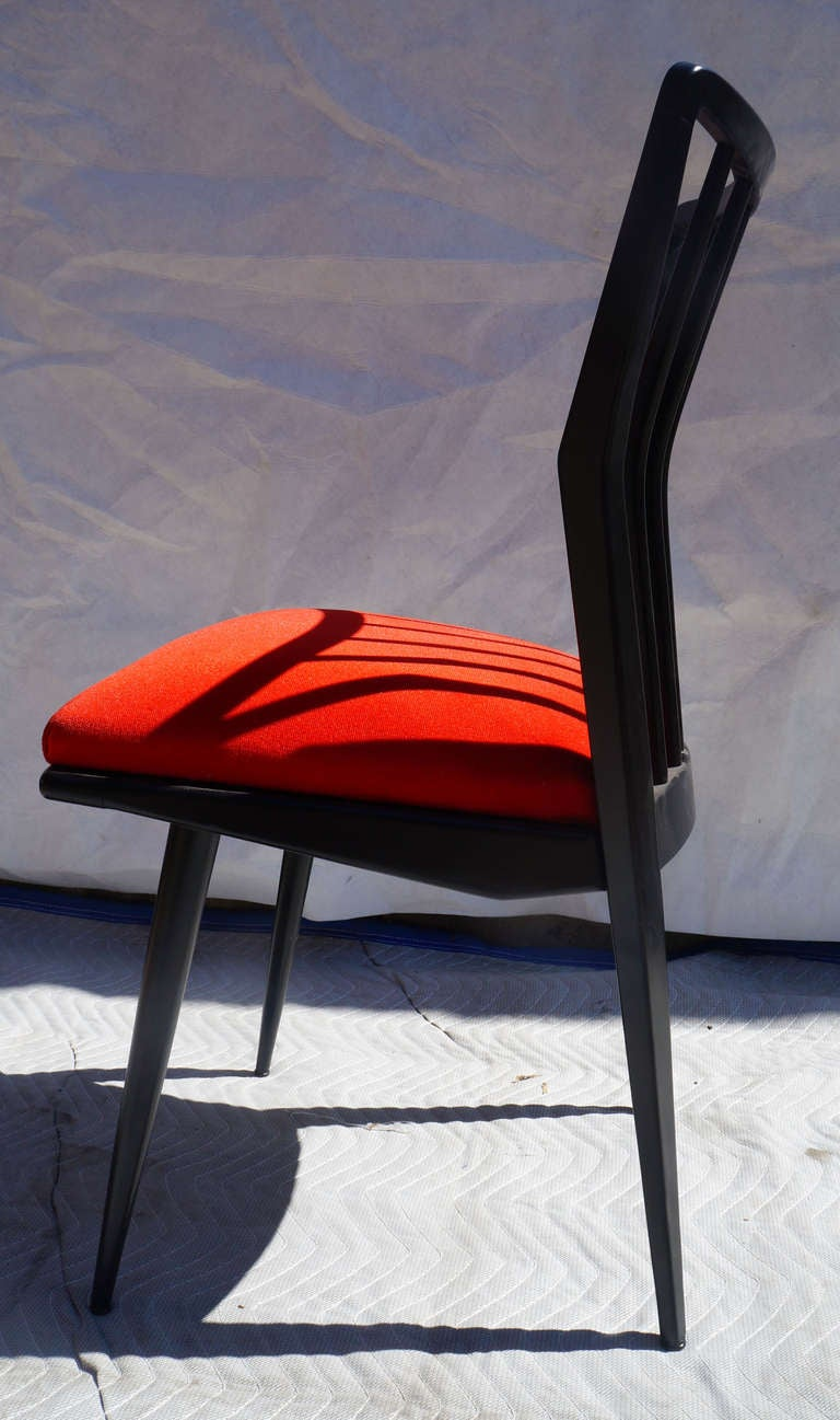 Mid-20th Century Set of Four Black Lacquered Chairs For Sale
