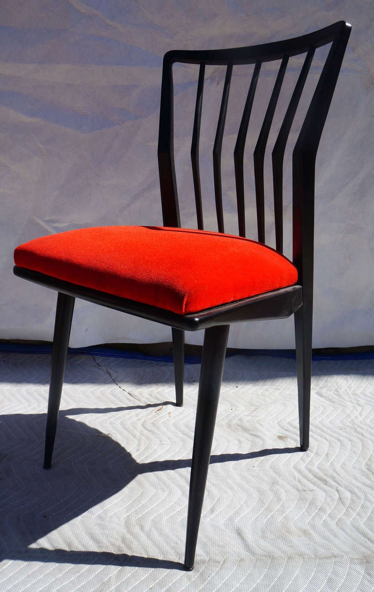 Set of Four Black Lacquered Chairs In Good Condition For Sale In Brooklyn, NY