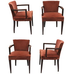 "Set of 4 French Art Deco ""Bridge"" Chairs"