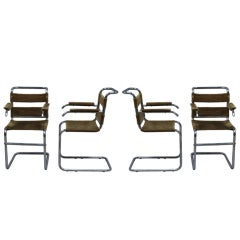 Set of Four French 1940s Tubular, Chrome Frame Chairs