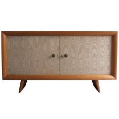 French 1950s Sycamore and Original Fabric Buffet by Suzanne Guiguichon