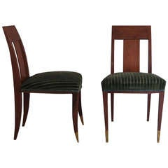Pair of Fine French Art Deco Side Chairs in the Manner of Alfred Porteneuve