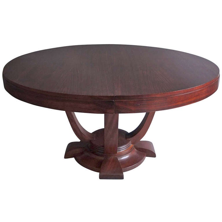 Fine french art deco rosewood round dining or center table for French round dining table