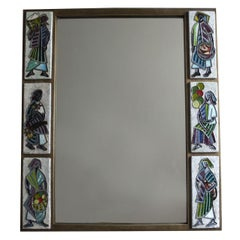 A Fine French 1960s Metal and Ceramic Framed Mirror by Scaillon