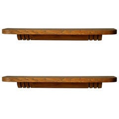 Two French Art Deco Floating Shelves by Dudouyt