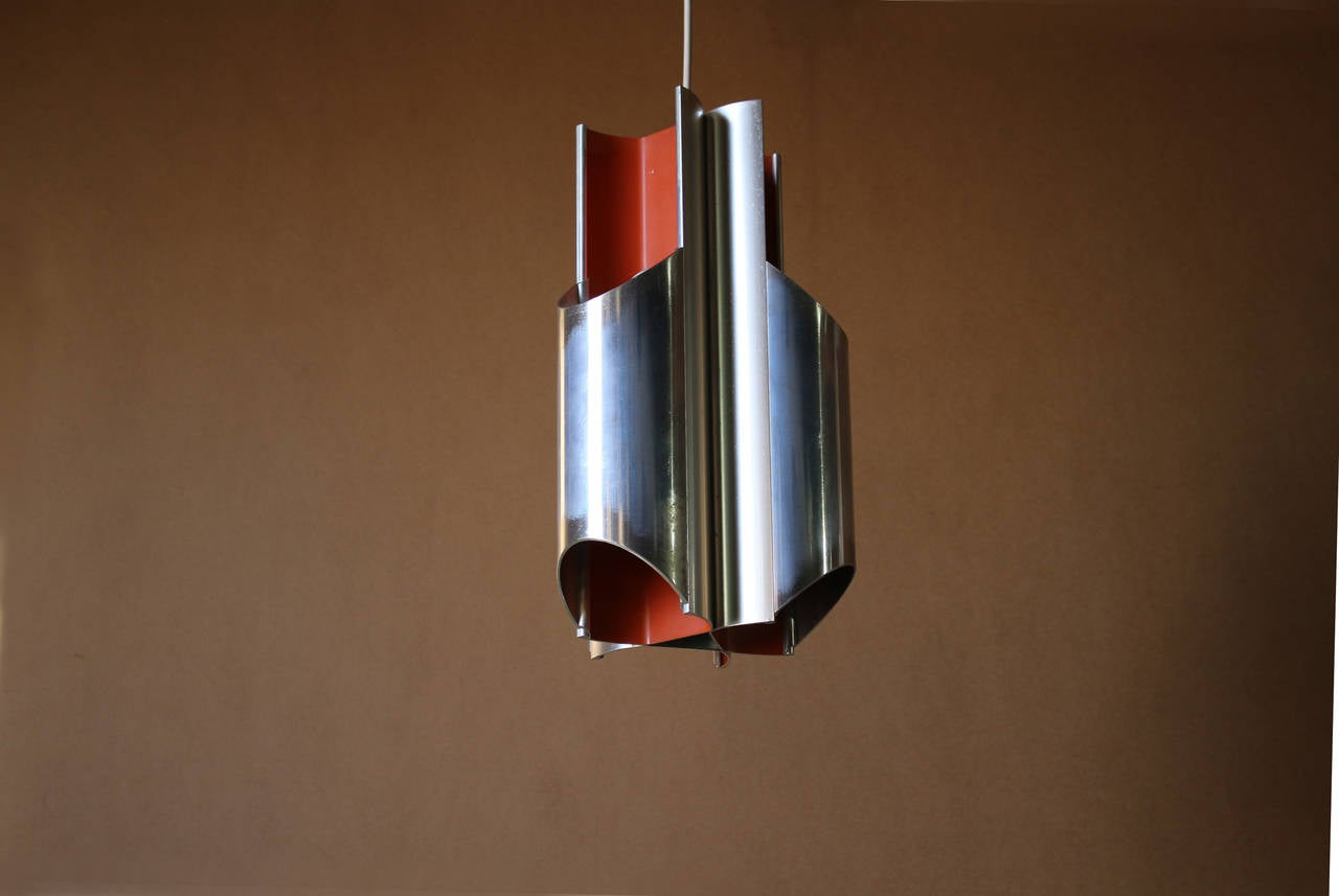 Aluminum A 1960s Danish Pendant by Bent Karlby for Lyfa For Sale