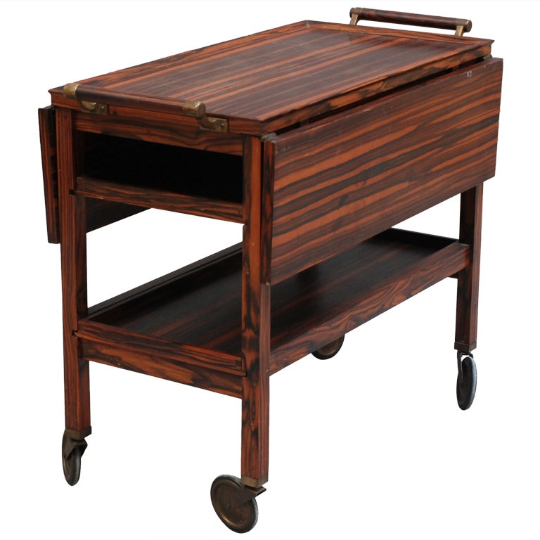 Fine French Art Deco Macassar Rolling Cart Table Or