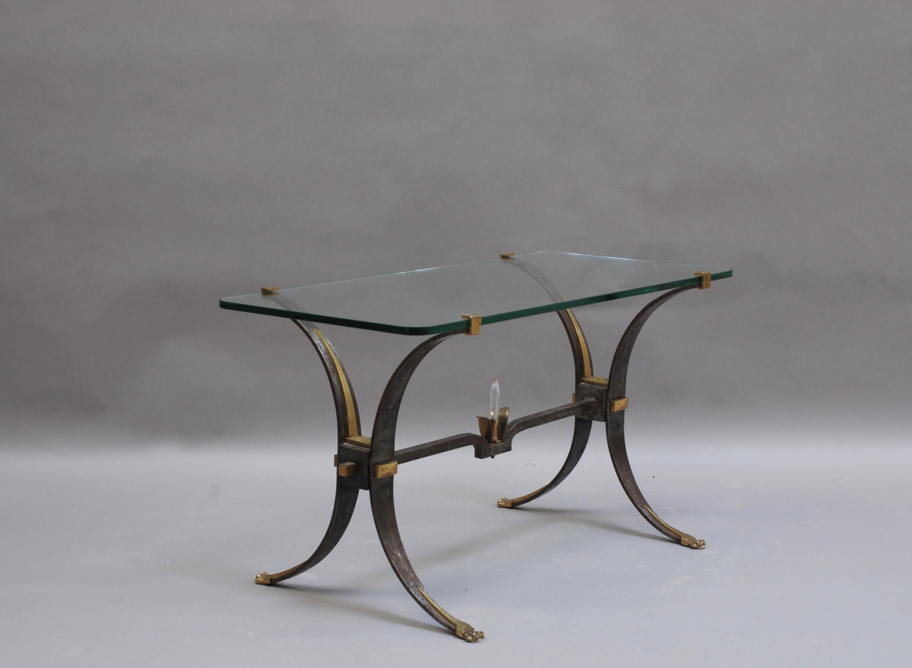 Fine French Wrought Iron and Brass Base Coffee Table with a Glass Top