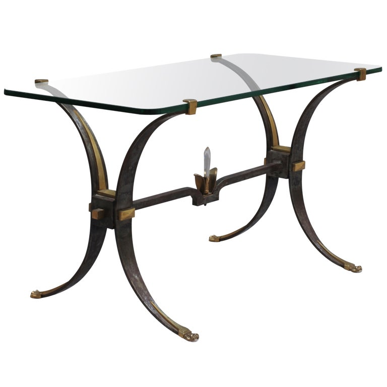 Glass Top Coffee Table With Iron Base: Fine French Wrought Iron And Brass Base Coffee Table With
