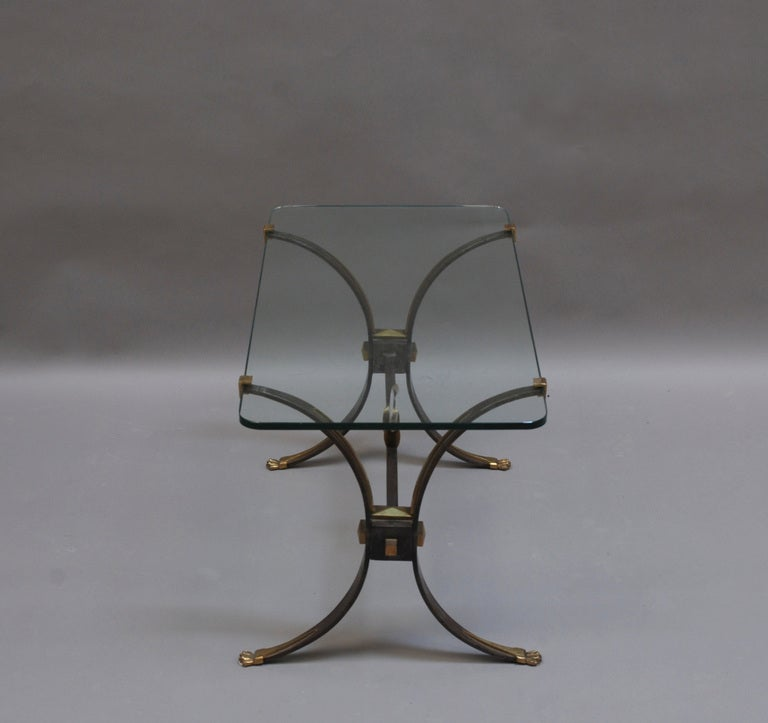 Fine French Wrought Iron And Brass Base Coffee Table With A Glass Top For Sale At 1stdibs