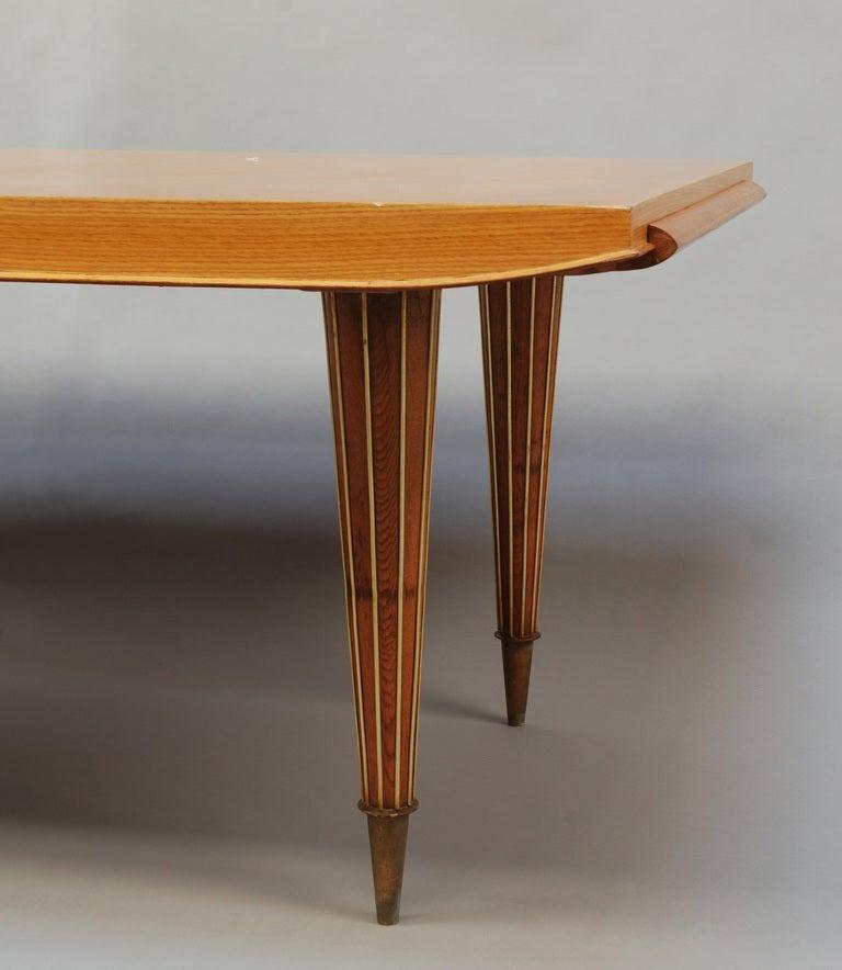 Fine French Art Deco Expandable Oak Table with Brass  : 830 Grandetablepiedsconiquescanneles5l from www.1stdibs.com size 768 x 884 jpeg 51kB