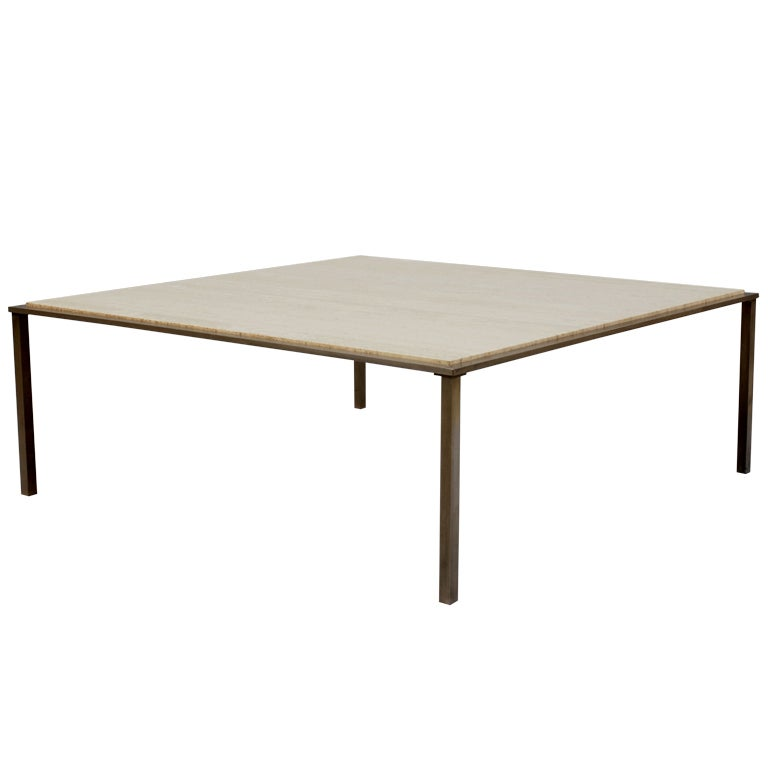 Large Metal Base And Travertine Top Coffee Table At 1stdibs