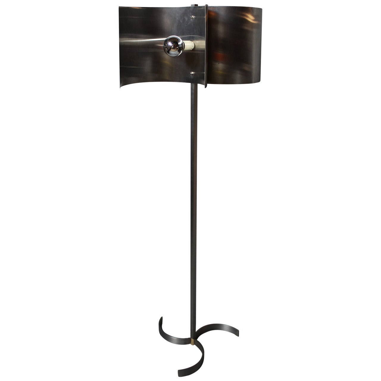 A French 1970s Metal and Stainless Steel Floor Lamp