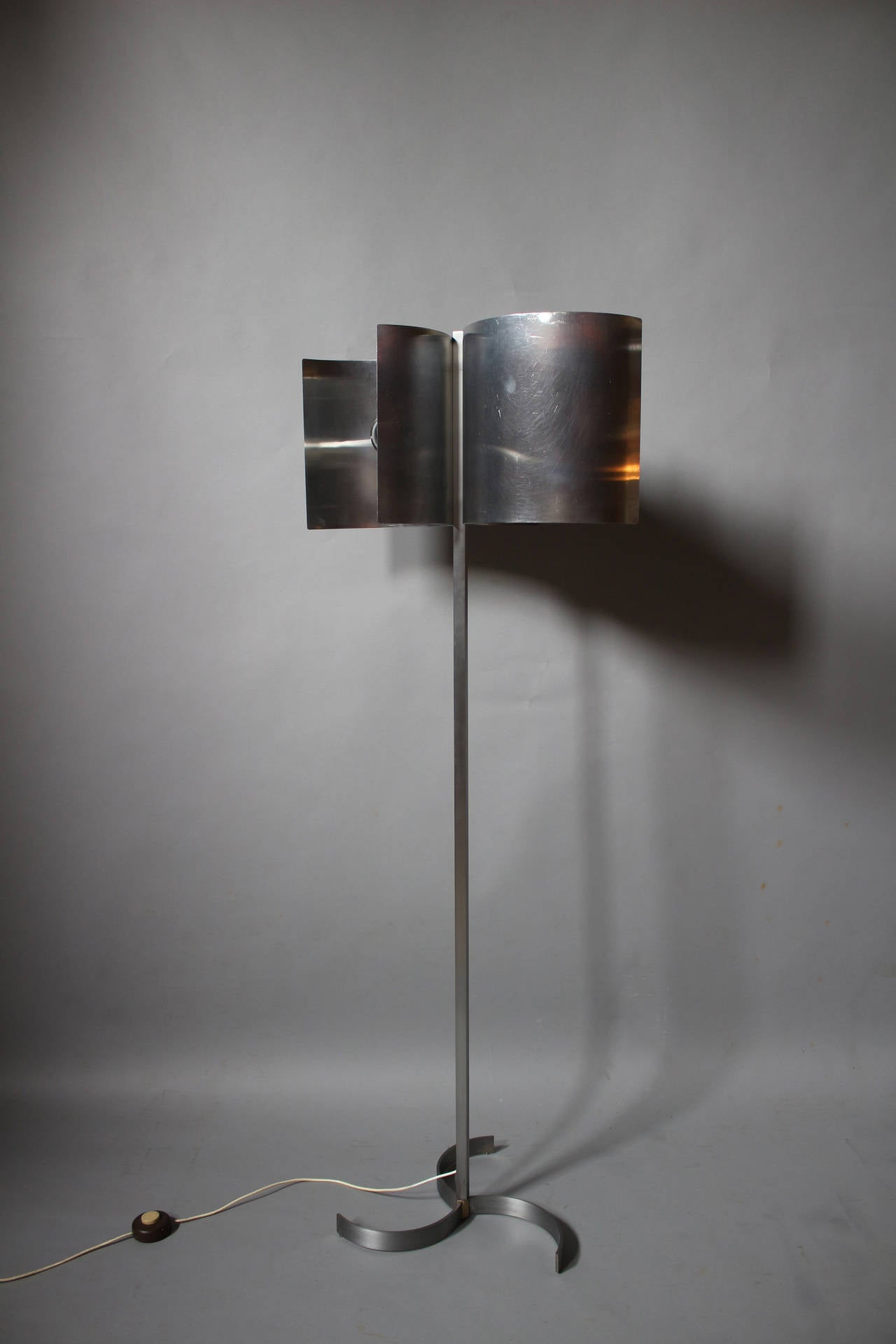 metal and stainless steel floor lamp french 1970s for sale at. Black Bedroom Furniture Sets. Home Design Ideas