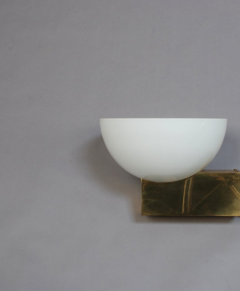 Enameled 20 French Art Deco Bronze and White Glass Sconces by Jean Perzel For Sale