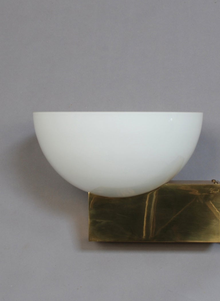 20 French Art Deco Bronze and White Glass Sconces by Jean Perzel In Good Condition For Sale In Long Island City, NY