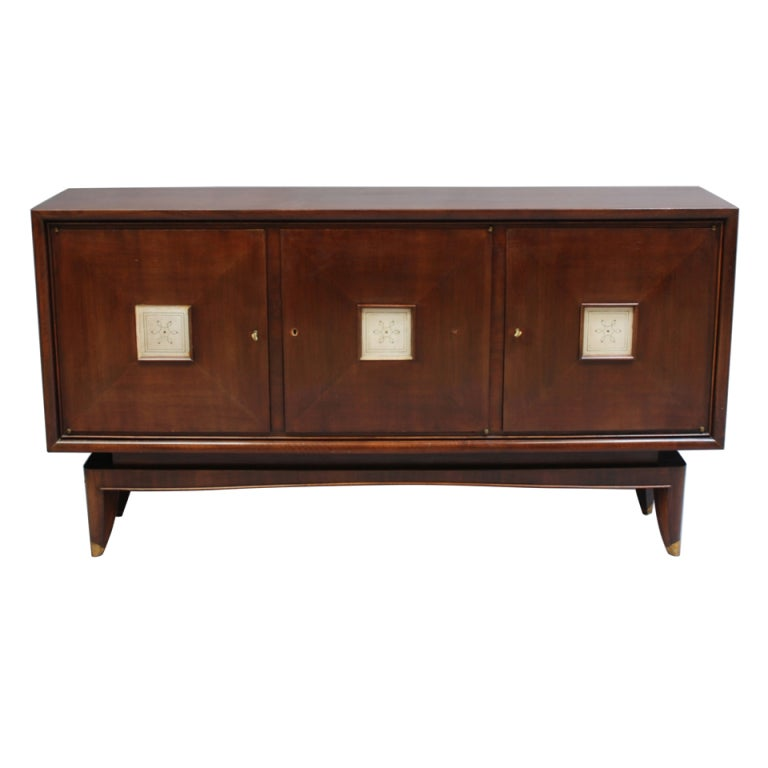 French Art Deco Sideboard with Parchment Details 1