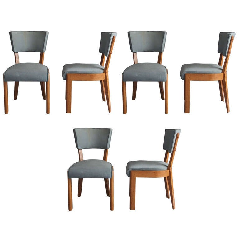Set Of 6 French Art Deco Dining Chairs By Dudouyt At 1stdibs