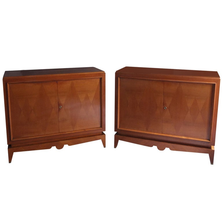 Two Fine French Art Deco Cherry Wood Buffets For