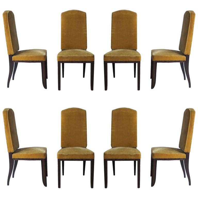 A Set of 8 Fine French Art Deco Macassar Ebony Dining Chairs by Paul Frechet For Sale
