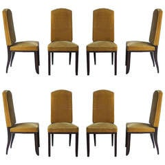 Set of 8 French Art Deco Macassar Ebony Dining Chairs by Paul Frechet