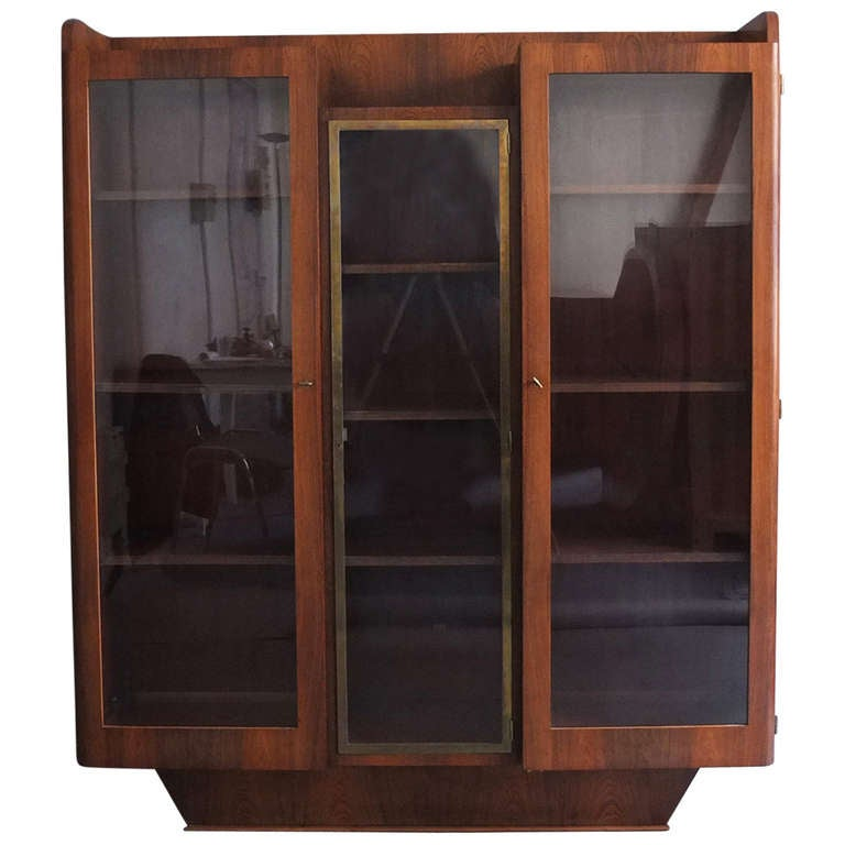 Fine French Art Deco Rosewood Bookcase or Vitrine