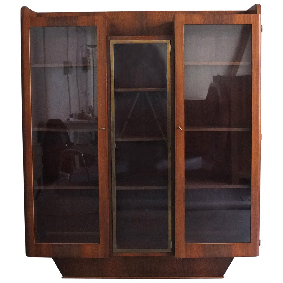 Fine French Art Deco Rosewood Bookcase or Display Cabinet