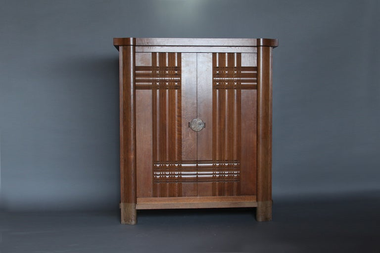 French Art Deco Oak Armoire by Dudouyt In Good Condition For Sale In Long Island City, NY