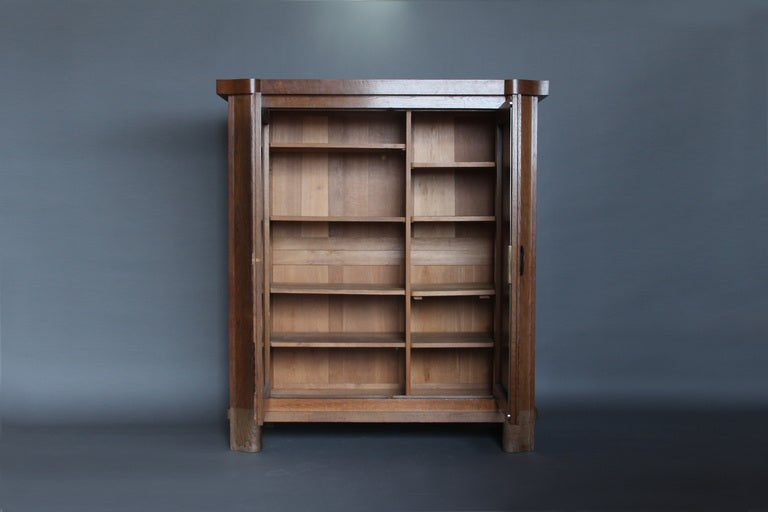 French Art Deco Oak Armoire by Dudouyt For Sale 2