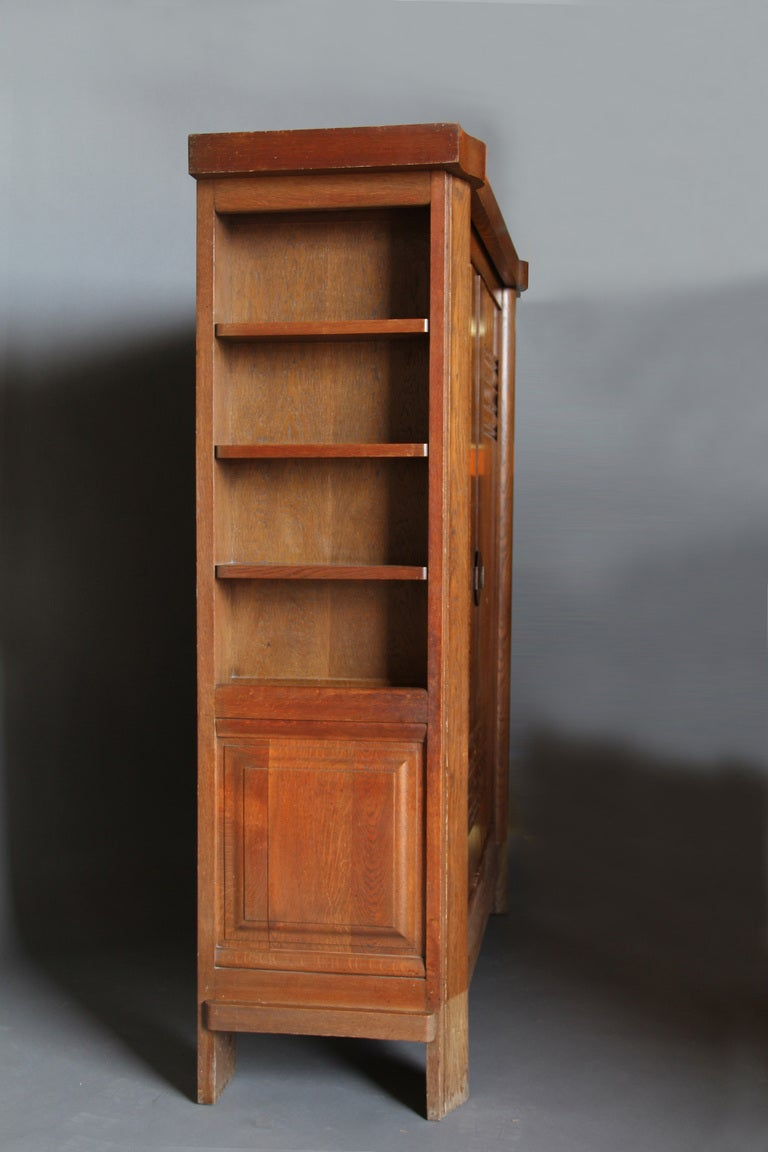 French Art Deco Oak Armoire by Dudouyt For Sale 1