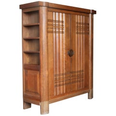 French Art Deco Oak Armoire by Dudouyt