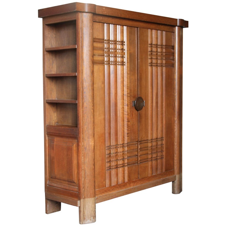 French Art Deco Oak Armoire by Dudouyt 1