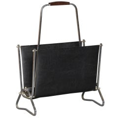 Fine French Art Deco Chrome and Leatherette Magazine Rack