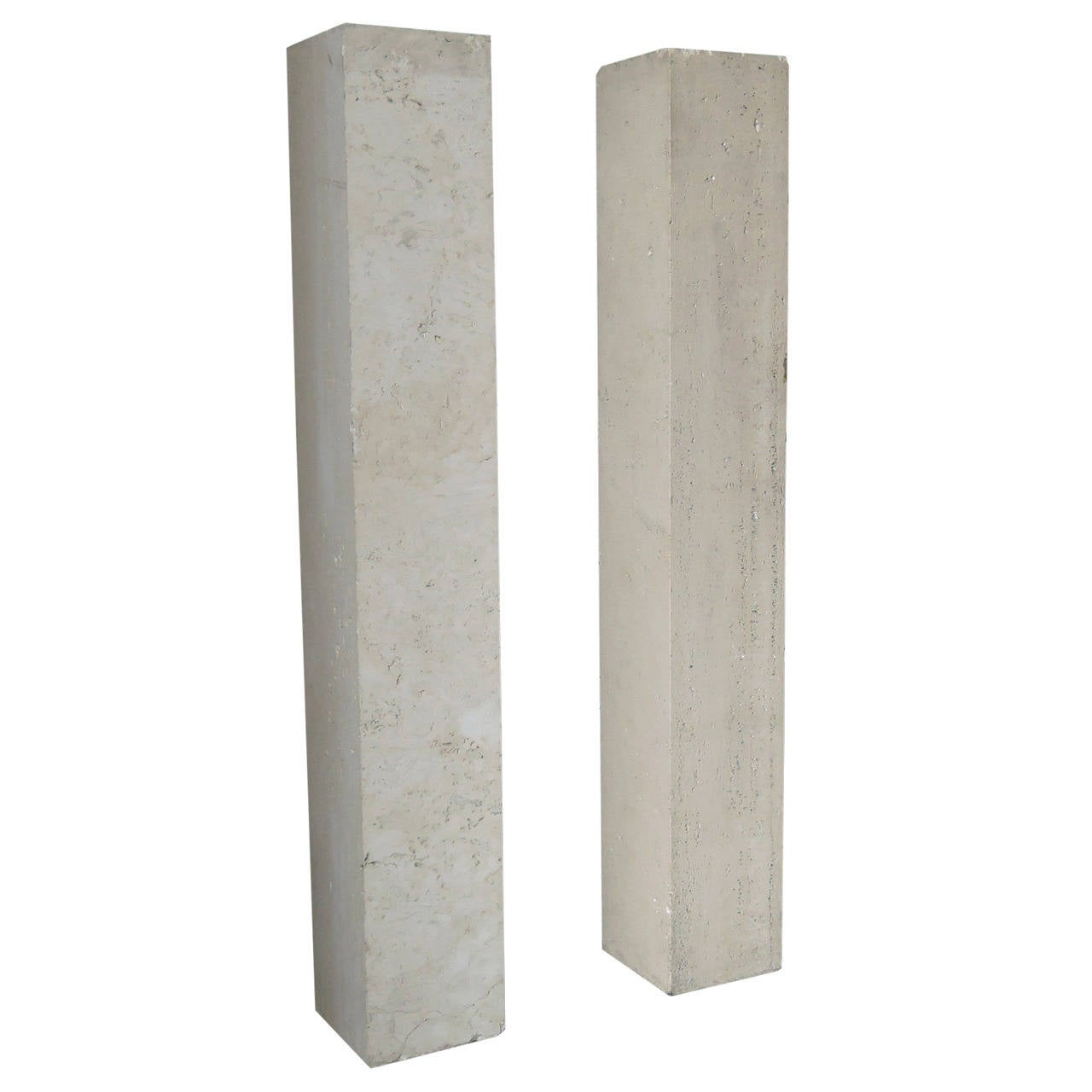 Pair of French Art Deco Travertine Pedestals in the Manner of Marc du Plantier