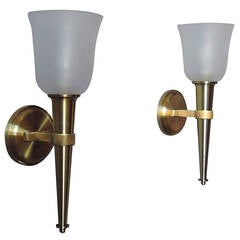 "Pair of French 1950's Bronze and Glass ""Torch"" Sconces by Jean Perzel"